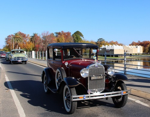 Vintage cars seen at Historic Winton